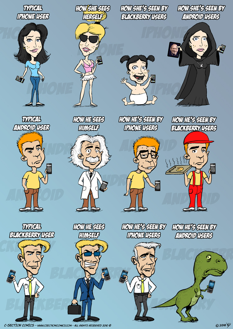 how smartphone users see each other via c-section comics