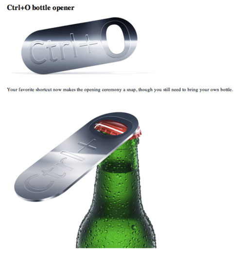 ctrl o bottle opener is geeky cool gears and widgets. Black Bedroom Furniture Sets. Home Design Ideas